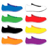 Running Shoes in Different Colours Royalty Free Stock Photography