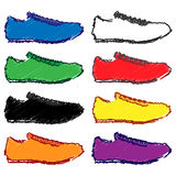 Running Shoes in Different Colours Pencil Style 1 Royalty Free Stock Photography