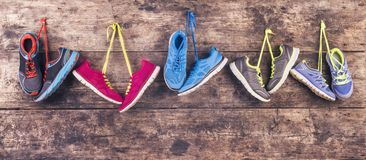 Running shoes on the floor stock images