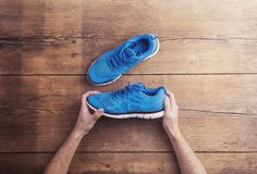 Running shoes on the floor Royalty Free Stock Photography