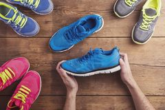 Running shoes on the floor Stock Photos