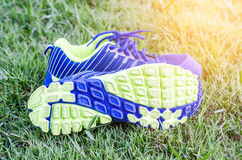 Running shoes on a green grass field Stock Photo