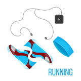 Running shoes, music player and head band icon  on the white background. Sports equipment illustration set Stock Photos