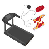 Running shoes, music player, head band and treadmill icon  on the white background. Sports equipment Royalty Free Stock Photos