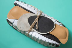 Running shoes with orthopedic insoles. For sport and fitness. Ne Royalty Free Stock Photos