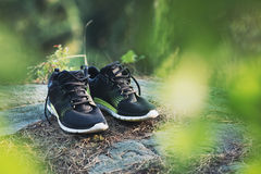 Running shoes. Pair of black Running shoes royalty free stock photo