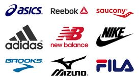 Running shoes producers logos. Vector set collection of the 9 most important running shoes producers logos. Editable EPS file available Royalty Free Stock Photo