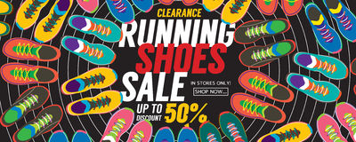 Running Shoes Sale 6250x2500 Pixel Banner. Stock Vector - Image ...