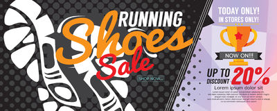 Running Shoes Sale 6250x2500 pixel Banner. Stock Images