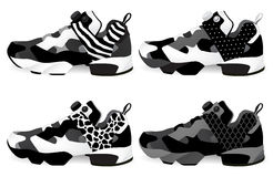 Running shoes - Sneakers. Set. Vector and illustration Stock Photos