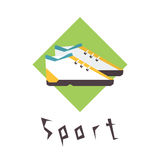 Running shoes, sport fitness logo Royalty Free Stock Image