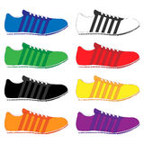 Running Shoes with Stripes in Different Colours Stock Image
