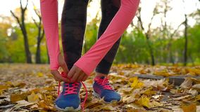 Running shoes - woman tying shoe laces in autumn park at sunset. Closeup of female sport fitness runner getting ready for jogging outdoors stock video footage