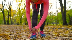 Running shoes - woman tying shoe laces in autumn park at sunset. Closeup of female sport fitness runner getting ready for jogging outdoors stock video