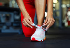 Running shoes - woman tying shoe laces. Closeup of fitness woman getting ready for engage in the gym stock photography