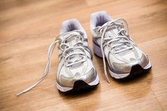 Running shoes after workout at gym Stock Images