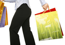 Running With Shopping Bags Stock Photos