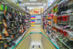 Running shopping cart, Sale concept Stock Photography