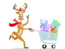 Running shopping christmas reindeer Stock Photo