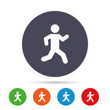 Running sign icon. Human sport symbol. Round colourful buttons with flat icons. Vector royalty free illustration