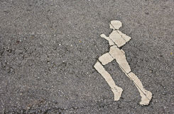 Running sign symbol on road Stock Photo