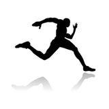 running silhouette för idrottsman nen Fotografering för Bildbyråer
