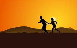 running silhouette för par Arkivbild