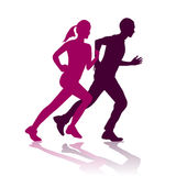 Running silhouette. Illustration of man and woman running silhouette Royalty Free Stock Image