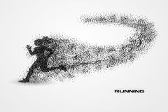 Running of a silhouette from particle. Background and text on a separate layer. color can be changed in one click Stock Photo