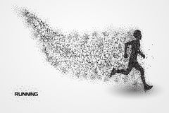 Running of a silhouette from particle. Background and text on a separate layer. color can be changed in one click Royalty Free Stock Photography