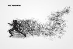 Running of a silhouette from particle. Background and text on a separate layer. color can be changed in one click Stock Images
