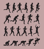 Running Silhouettes. Authors illustration in vector Stock Photo