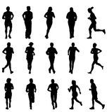 Running silhouettes collection Stock Photo