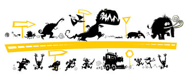 Running Silhouettes on the Evolution scale. Cartoon running Silhouettes on the Evolution scale with road signs Stock Images