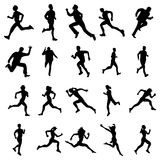 Running silhouettes set Stock Photography