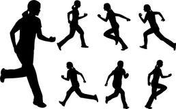 running silhouetteskvinna Fotografering för Bildbyråer