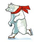 Running Skating Polar Bear. Happi Running Skating Polar Bear Royalty Free Stock Photos