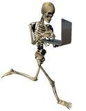 Running skeleton with laptop. 3D Running skeleton with laptop computer on isolated white background Stock Photos