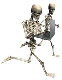 Running skeletons with laptop. 3D Running skeletons with laptop computer on isolated white background Stock Images