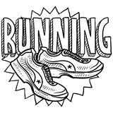 Running sketch. Doodle style running sports illustration. Includes text and running shoes Stock Images