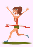 Running smiling girl. vector illustration