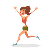 Running smiling girl. Sport concept. Hand-drawn element. Eps10 Royalty Free Stock Images