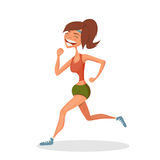 Running smiling girl. Sport concept. Hand-drawn element. Eps10 Stock Photo