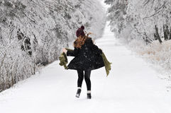 Running through snow Royalty Free Stock Photo