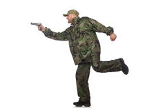 Running soldier with a handgun isolated on white Stock Photo