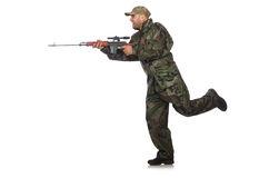 Running soldier with a handgun isolated on white Royalty Free Stock Photo