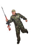 Running soldier with a handgun isolated on white Royalty Free Stock Photos