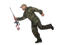 Running soldier with a handgun isolated on white Stock Image