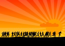 running solnedgång Arkivbild