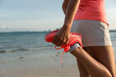 Running and sport at beach on summer Royalty Free Stock Image
